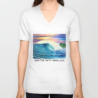 indonesia V-neck T-shirts featuring  Surf Art  Indonesia by Surf Art Gabriel Picillo