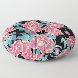 Pink Flowers on Black Floor Pillow