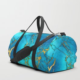 Gold And Teal Blue Indigo Malachite Marble  Duffle Bag