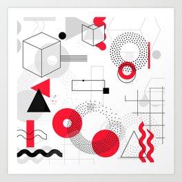 Constructivism Red Geometric Lines Art Print