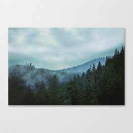 Misty Forest Mountains Trees Canvas Print
