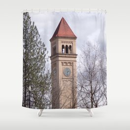 Beautiful Old Clock Tower In Spokane, Washington, Vintage Train Station Clock Tower Shower Curtain