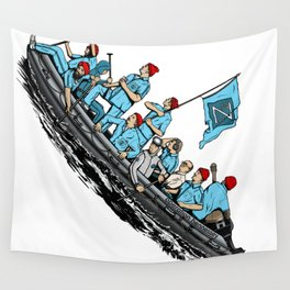 Team Zissou Crossing the Delaware Wall Tapestry