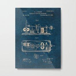 EDISON PATENTS / 03 - Electrical Signaling Apparatus - Blueprint Metal Print