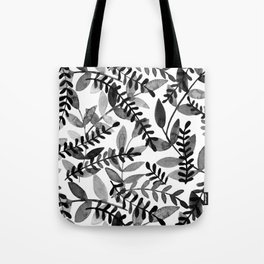 Watercolor branches - black and white Tote Bag