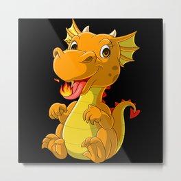 Cute baby dragon spitting fire Metal Print