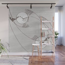 Two Moons Stencil,19th century Japan Wall Mural