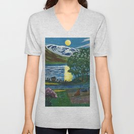 Planting the Spring Crops Lakeside under the yellow May Moon landscape painting by Nikolai Astrup Unisex V-Neck