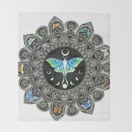 Lunar Moth Mandala Throw Blanket