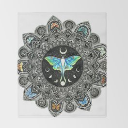 Lunar Moth Mandala Throw Blanket