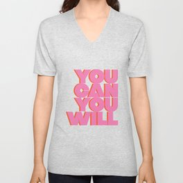 You Can You Will Bold Motivational Typography on Light Beige Background | Text Art Unisex V-Neck