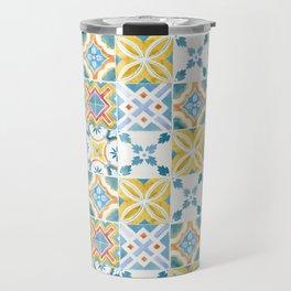 Blue and yellow tiles Travel Mug