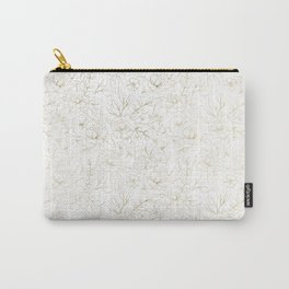 Elegant simple modern faux gold white floral Carry-All Pouch