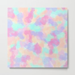 Modern Art Girly Pink Purple Paint Splotches Metal Print