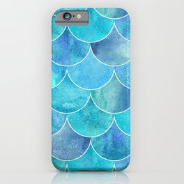 Turquoise Blue Watercolor Mermaid iPhone Case