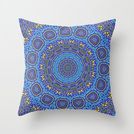 Intricate Purple, Blue  and Vivid Yellow Abstract Kaleidoscope Throw Pillow