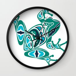 Frog Pacific Northwest Native American Indian Style Art Wall Clock