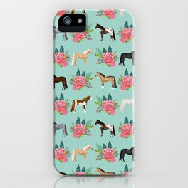 Horse Florals - mint and pink, horse, horse bedding, horse florals, horse blanket, horse decor, cute iPhone Case