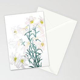 white lily branch watercolor Stationery Cards