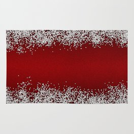 Shiny Red Texture With Silver Sparkles Rug