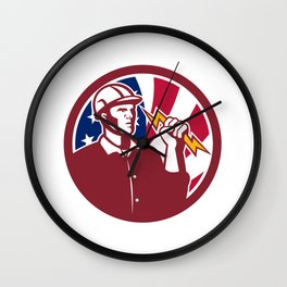 American Lineman USA Flag Icon Wall Clock