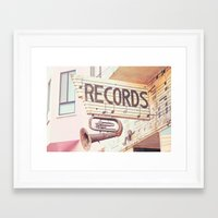 records Framed Art Prints featuring Records by JoyHey