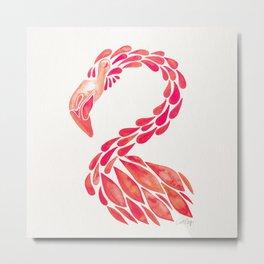 Miami Flamingo – Pink Ombré Metal Print