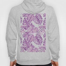 Purple violet pink watercolor tropical monster leaves Hoody