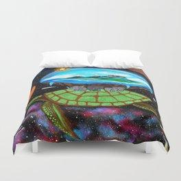 Cosmic Turtle Journey Through Space Duvet Cover