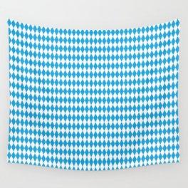 Oktoberfest Bavarian Blue and White Medium Diagonal Diamond Pattern Wall Tapestry