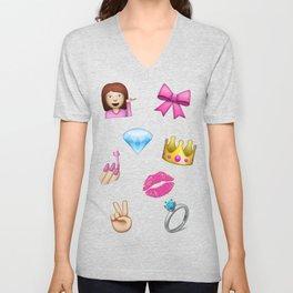 Girly Emoji Compilation  Unisex V-Neck