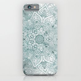 Mandala Flower, Teal and White, Floral Prints iPhone Case