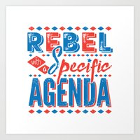 rebel Art Prints featuring Rebel by Word Quirk