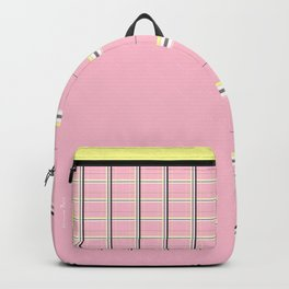 Brigitte B - Stripes yellow on pink background Backpack