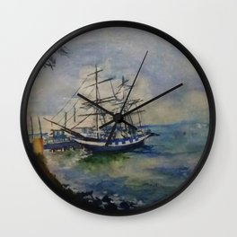 A Cobalt Ship Wall Clock