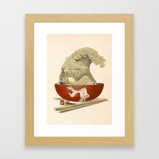 The Great Ramen Wave re-drawn Framed Art Print