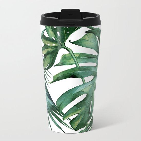 Simply Island Palm Leaves Metal Travel Mug