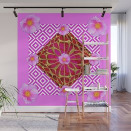 Fuchsia Pink Wild Rose Pattern Abstract Wall Mural