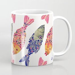 Indonesian Fish Duo – Navy & Coral Palette Coffee Mug