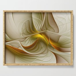 Abstract With Colors Of Precious Metals, Fractal Art Serving Tray