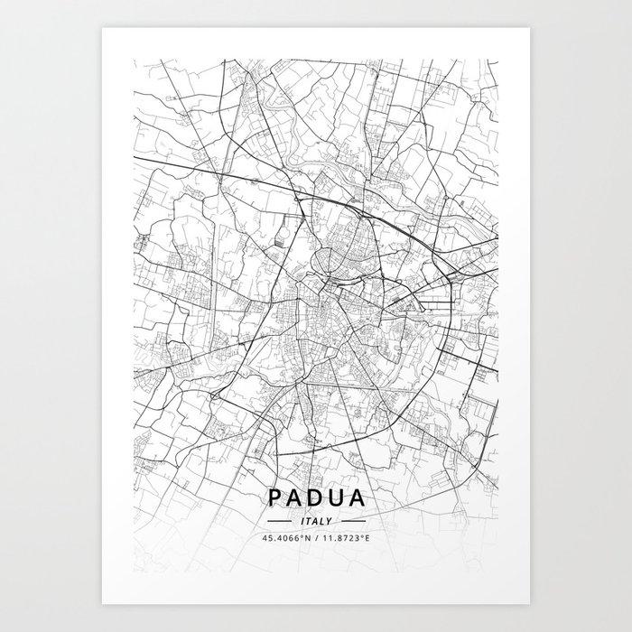 Padua Italy Light Map Art Print By Designermapart Society6
