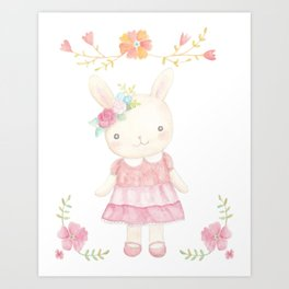 Bunny Rabbit Nursery Art Cute Bunny Girl in Pink Dress Art Print