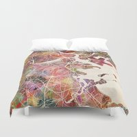 boston map Duvet Covers featuring Boston by MapMapMaps.Watercolors