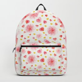 Watercolor flowers and hearts Backpack