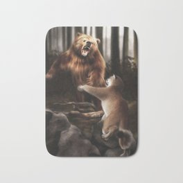 Grizzly vs Cougar (Digital Drawing) Bath Mat
