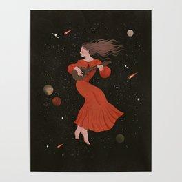 Mandoline Girl in the Night Sky Poster