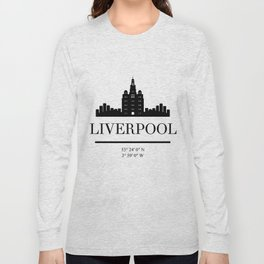 LIVERPOOL ENGLAND BLACK SILHOUETTE SKYLINE ART Long Sleeve T-shirt