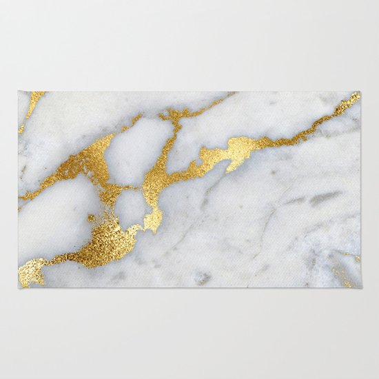 White And Grey Marble And Gold Metal Foil Glitter Effect
