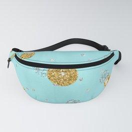Treasures on aqua - Gold glitter polkadots on turquoise background Fanny Pack