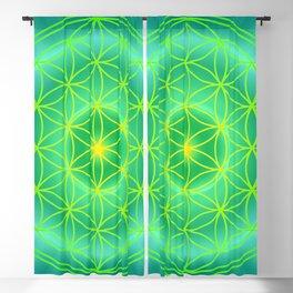 Flower Of Life Mandala - Green Blackout Curtain